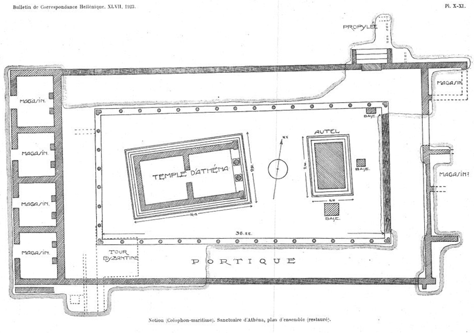 Plan of the Temple of Athena and surrounding structures by Demangel and Laumonier