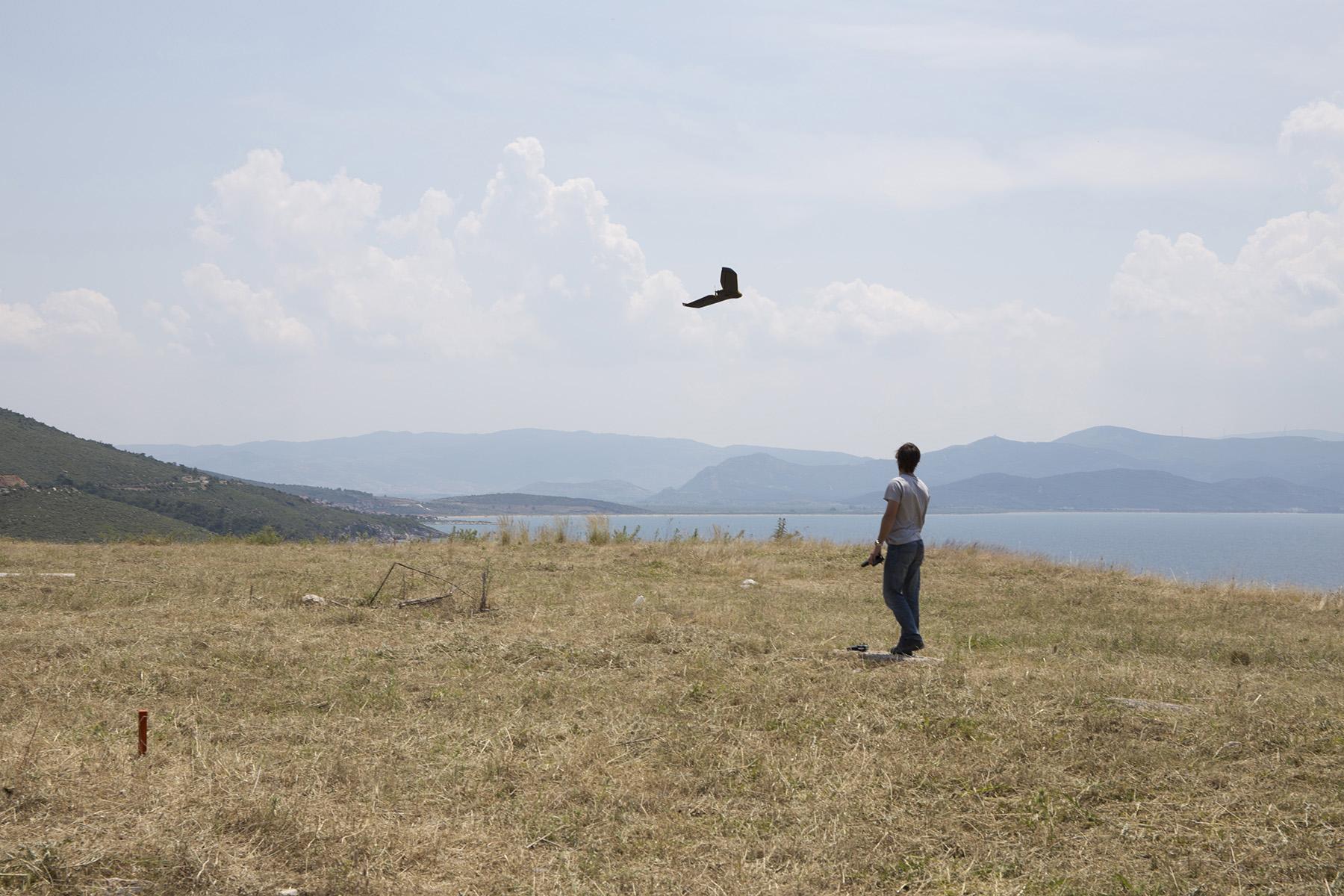 Cesar Serrano launching a drone