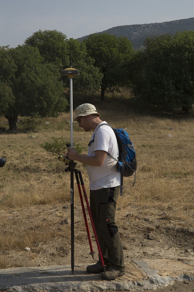 Christian Kurtze surveying with a Real Time Kinematic Global Navigation Satellite System (RTK-GNSS)