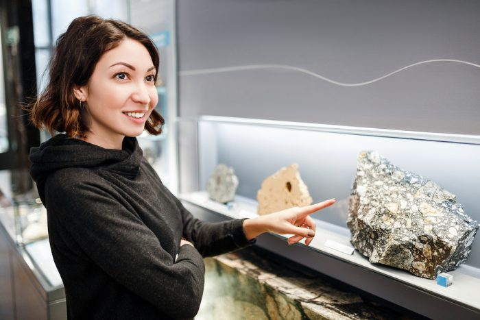 grad student and rocks