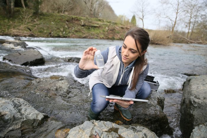 research student with water