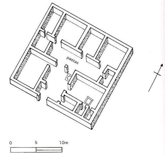 A reconstructed plan of an Olynthian pastas house
