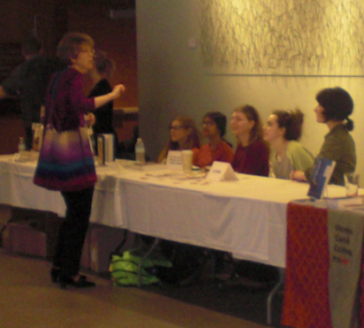 Laura Thomas talks with RC Review staff at the 2014 Voices festival.