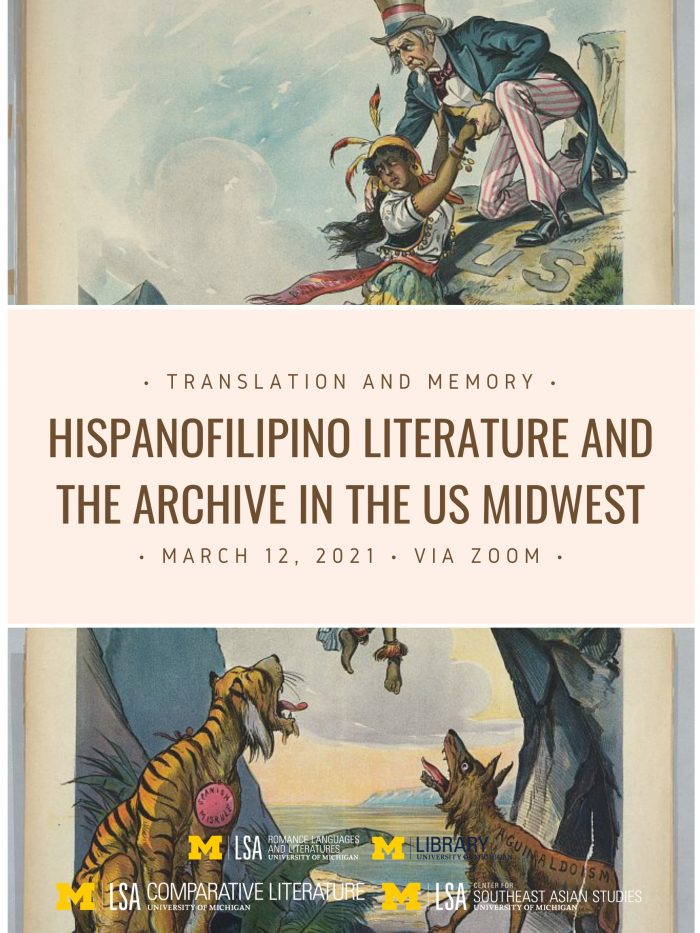 Hispanofilipino Literature and the Archive poster, Sites of Translation in the Multilingual Midwest, 2021
