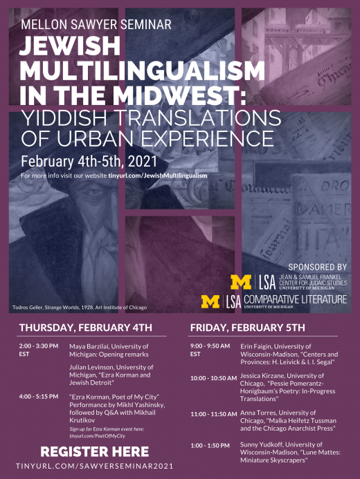 Jewish Multilingualism poster, Sites of Translation in the Multilingual Midwest 2021