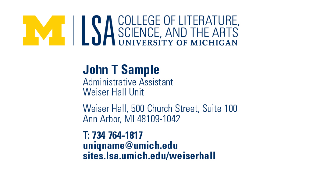 Business card, stationery ordering | Weiser Hall