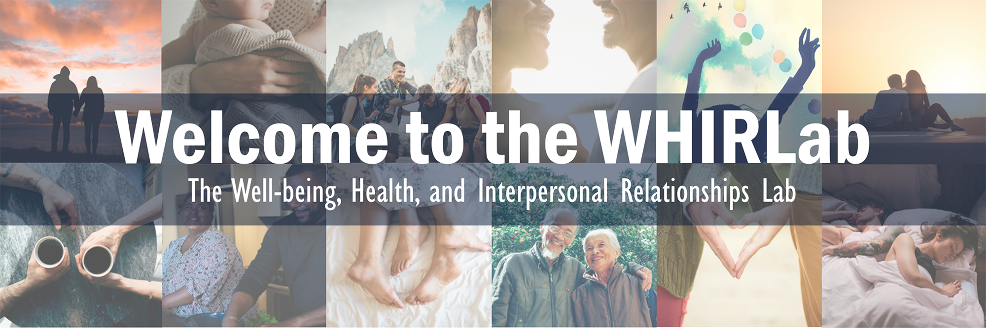 Welcome to the WHIRLab.  The Well-being, Health, and Interpersonal Relationships Lab.  This is a welcome banner image with people experiencing wellness and relationships.
