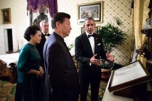 "Sept. 25, 2015 ""Two days after the visit of Pope Francis, the President and First Lady hosted President Xi Jinping of China and Madame Peng Liyuan for another State Visit. Before the formal State Dinner, the President showed President Xi and Madame Peng the Gettysburg Address in the Lincoln Bedroom."" (Official White House Photo by Pete Souza) This official White House photograph is being made available only for publication by news organizations and/or for personal use printing by the subject(s) of the photograph. The photograph may not be manipulated in any way and may not be used in commercial or political materials, advertisements, emails, products, promotions that in any way suggests approval or endorsement of the President, the First Family, or the White House."